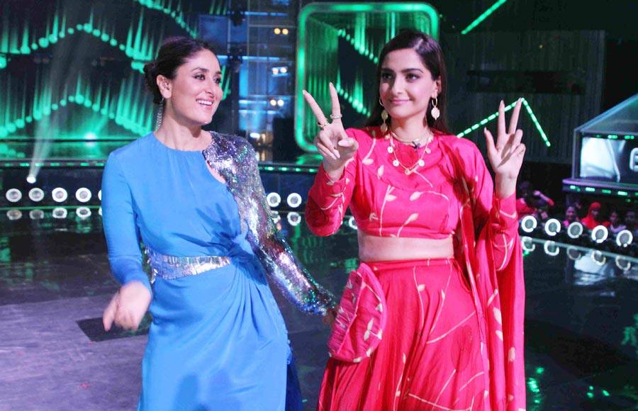 Sonam Kapoor and Dulquer Salman on Dance India Dance set